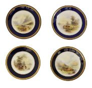 A Set of Four Royal Worcester Porcelain Plates, by John Stinton, 1912, 1913, 1917 and 1926,