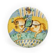 A Montelupe Maiolica Dish, mid 17th century, painted in blue, ochre, green and manganese with a