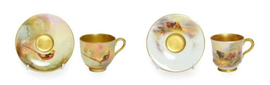 A Royal Worcester Porcelain Miniature Coffee Cup and Saucer, by Harry Stinton, 1912/13, painted with
