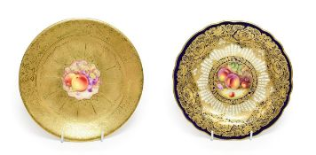 A Royal Worcester Porcelain Plate, by William Bee, 1924, painted with a still life of fruit on a