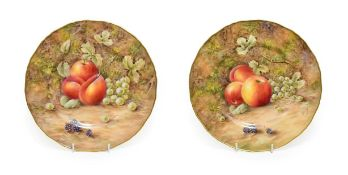 A Pair of Royal Worcester Porcelain Large Plates, by Peter Love, 2nd half 20th century, painted with