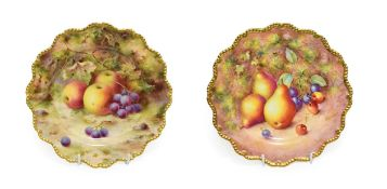 A Royal Worcester Porcelain Plate, by Frank Roberts, 1919, painted with a still life of fruit on a