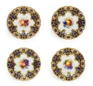 A Set of Four Royal Worcester Porcelain Plates, by Richard Sebright, 1910, painted with fruit within