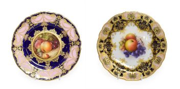 A Royal Worcester Porcelain Plate, by Richard Sebright, 1921, painted with a still life of fruit