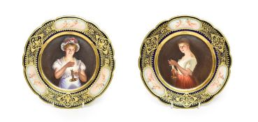 A Pair of Vienna Style Porcelain Cabinet Plates, circa 1900, painted with ''Gute Nachte'' and ''