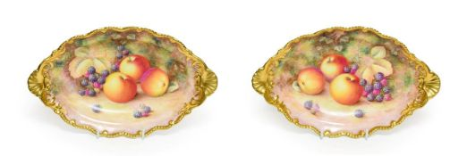 A Pair of Royal Worcester Porcelain Oval Dishes, by Harry Ayrton, 2nd half 20th century, painted