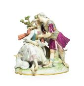 A Meissen Porcelain Figure Group, circa 1880, as lovers, he standing wearing Roman armour, she