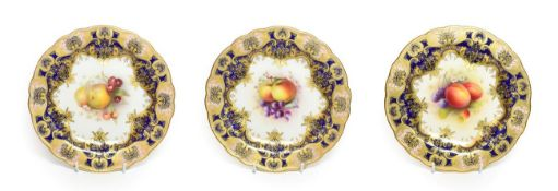 A Matched Set of Three Royal Worcester Porcelain Plates, by George Cole, Richard Sebright and Albert