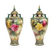 A Pair of Royal Worcester Hadleigh Ware Vases and Covers, by William Jarman, circa 1905, of baluster