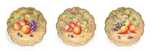 A Set of Three Royal Worcester Porcelain Plates, by Harry Ayrton, 2nd half 20th century, painted