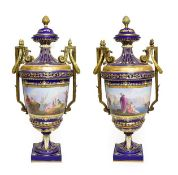 A Pair of Gilt Metal Mounted Sèvres Style Porcelain Vases and Covers, late 19th century, of urn
