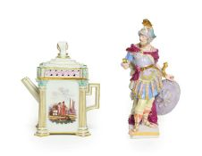 A Meissen Porcelain Miniature Coffee Pot and Cover, circa 1880, of square form with Janus head knop,