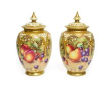 A Pair of Royal Worcester Porcelain Vases and Covers, by John Freeman, 2nd half 20th century, of