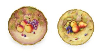 A Royal Worcester Porcelain Plate, by Albert Shuck, 1925, painted with a still life of fruit on a