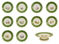 A Royal Worcester Porcelain Topographical Dessert Service, by Harry Davis, 1900, painted with