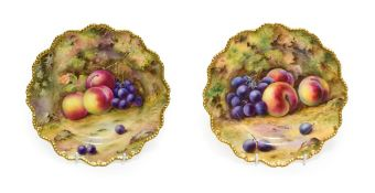 A Matched Pair of Royal Worcester Porcelain Plates, by Thomas Lockyer, 1921 and 1923, painted with