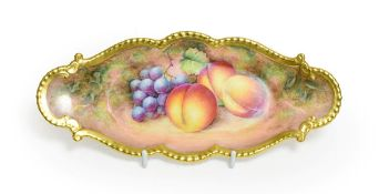 A Royal Worcester Porcelain Dish, by Alan Telford, 2nd half 20th century, painted with a still