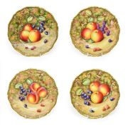 A Set of Four Royal Worcester Porcelain Plates, by Peter Love, 2nd half 20th century, painted with