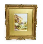 A Royal Worcester Porcelain Plaque, by Raymond Rushton, 1919, painted with ''The Severn near