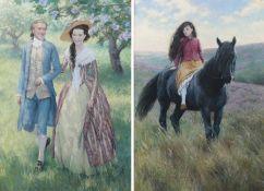 Birmingham (Christian) [b.1970] Cathy on Horseback, 2015, pastel, 47cm x 33cm, signed, Catherine &