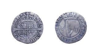 Ireland, Henry VIII, 1536 - 1537 Groat. Mintmark crown, first harp issue. 2.10g, 23.4mm, 9h. Obv: