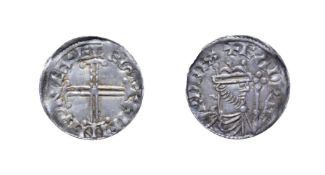 Edward The Confessor, 1042 - 1046, Exeter Mint Penny. 1.24g, 19.7mm, 3h. Hammer cross type, Ifing at