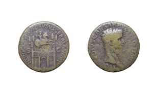 Brass Sestertius of Claudius, Rome mint, 41 - 42 A.D. 25.76g, 34.6mm, 7h. Obv: TI CLAVDIVS CAESAR
