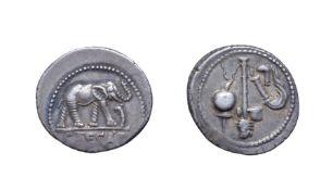 Julius Caesar Silver Denarius. Italian mint, 49 B.C. Obv: Elephant walking right, trampling serpent.