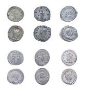 6 x Roman billon antoniani consisting of: Herennia Etruscilla (wife of Trajan Decius), 249 - 251 A.