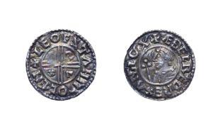 Aethelred II, 978 - 1016, Canterbury Mint Penny. 1.34g, 20.4mm, 6h. CRUX type, Leofstan at