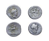Roman Republic 2 x Silver Denarius. Consisting of: L. Marcius Philippus, 113/112 B.C. 3.94 grams,