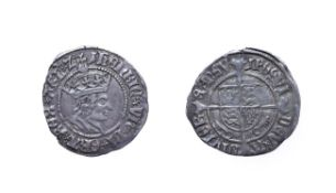 Henry VII, 1502 - 1504 Halfgroat. 1.32g, 21.2mm, 12h. Mintmark pheon, York mint, profile issue,