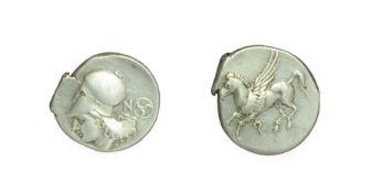 Corinthia, Corinth, Silver Stater. c. 345-307 B.C. 8.57g, 22.5mm, 3h. Obv: Pegasos flying to left,