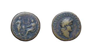 Nero, Brass Sestertius. Lugdunum (Lyon), 65 A.D. 27.34g, 33.5mm, 6h. Obv: NERO CLAVD CAESAR GER P