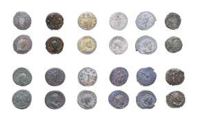 11 x Roman Billon Antoniniani consisting of: 2 x Aurelian, 270 - 275 A.D. 3.35g, 21.4mm, 5h. Obv: