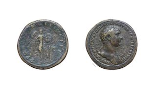 Trajan, Brass Sestertius. Rome, 103 - 111 A.D. 25.68g, 35.5mm, 6h. Obv: IMP CAES NERVAE TRAIANO