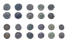 11 x Late Roman Bronze Coins comprised of Claudius II, Gothicus, 268 - 270 A.D. Ae Antoninanius,