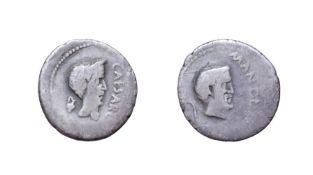 Mark Antony and Julius Caesar Silver Denarius. Cisalpine Gaul, April 43 B.C. 3.48g, 18.6mm, 3h. Obv: