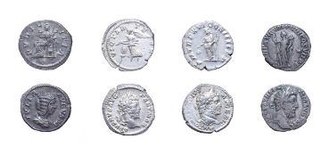 4 x Imperial Silver Denarii consisting of: Commodus, 177 - 192 A.D. 3.17g, 16.9mm, 12h. Obv: