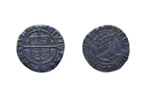 Henry VIII, 1502 - 1504 Halfgroat. 1.39g, 17.9mm, 9h. Mintmark lis, Canterbury, second coinage,