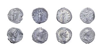 4 x Imperial Silver Denarii consisting of: Antoninus Pius, 138 - 161 A.D. 3.41g, 18.1mm, 6h. Obv: