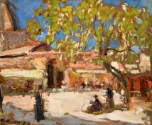 Alexander Jamieson (1873-1937) Scottish Market Square, Corfu Signed and dated 1927, inscribed verso,
