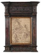 Italian School (17th century) Noli me Tangere Bears signature P del Vaga, mixed media, 27.5cm by