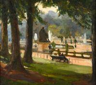 Alexander Jamieson (1873-1937) Scottish Resting on a bench, Tuileries Gardens, Paris Oil on panel,