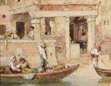 Myles Birket Foster RWS (1825-1899) ''Venetian Shrine'' Monogrammed, watercolour, 17cm by 22.5cm