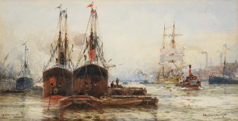 Frederick William Scarborough (1860-1939) ''Off Woolwich, London'' Signed and inscribed, watercolour