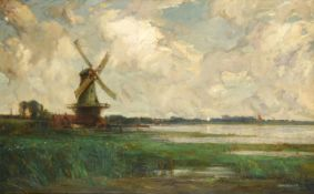Kershaw Schofield (1875-1941) Estuary scene with windmill Signed, oil on canvas, 74.5cm by 120cm .
