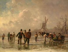 Adolf Stademann (1824-1895) German Ice skaters on a frozen river Signed, oil on panel, 22cm by