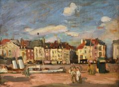 Alexander Jamieson (1873-1937) Scottish Sketch, Dieppe Signed and dated 1900, oil on panel, 18.5cm