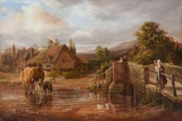 Ernest Walbourne (1872-1927) ''Bringing in the Hay'' Signed and dated 1900, oil on canvas, 40cm by